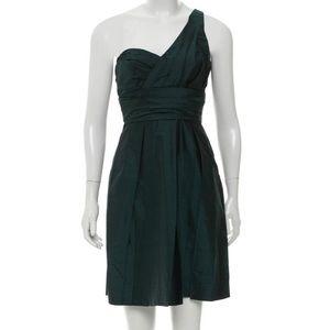 Vera Wang | Silk One-Shoulder Green Dress Size 6